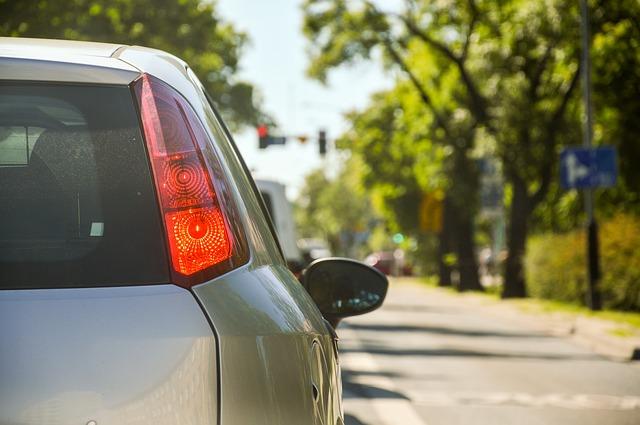 silnice, auto, zadní světlo